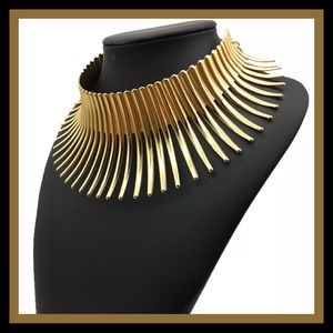 Gold Torque Statement Choker Necklace NWT